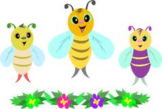 Three Baby Bees and Row of Flowers Stock Photography