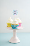 Three baby shower cupcakes Stock Photography