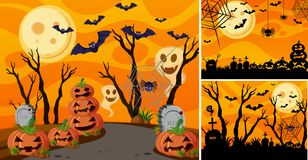 Three background with halloween night and jack-o-lanterns royalty free illustration