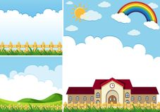 Three background scenes with blue sky Royalty Free Stock Photography