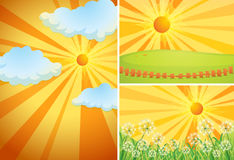 Three background scenes with bright sun Stock Photography