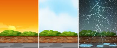 Three background scenes at different seasons. Illustration Stock Photo