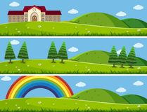 Three background scenes with green lawn. Illustration Stock Photo