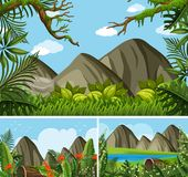 Three background scenes with mountains and forest. Illustration Stock Images