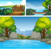 Three background scenes with river and trees. Illustration Royalty Free Stock Photo