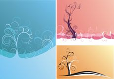 Three backgrounds. Three different design and color creative backgrounds, all objects are 2d Royalty Free Stock Photo