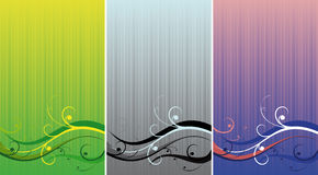 Three backgrounds. Three variants of a pattern of different colour on a striped background Stock Photo