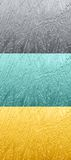 Three backgrounds. Three shine backgrounds of three different colours: steel, aqua and gold stock illustration