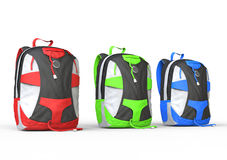 Three backpacks on white background Royalty Free Stock Images