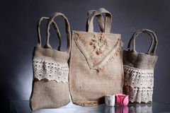 Three bag made out of natural eco recycled Hessian sack Royalty Free Stock Images
