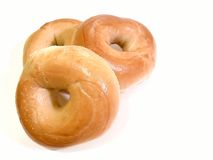 Three Bagels. On a white background Stock Photography