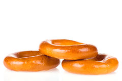 Three bagels isolated Royalty Free Stock Photos