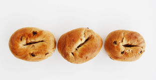 Three bagels in a row. Royalty Free Stock Photo