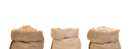 Three bags of cereals Stock Image
