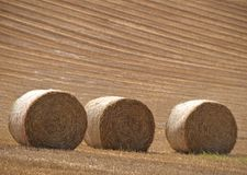 Three Bails. Three hay bails against a freshly cut hillside Stock Photos