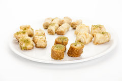 Three Baked Bourma Baklava Pieces In A Pastry Mix Royalty Free Stock Photo