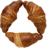 Three baked isolated breakfast croissant for eat Royalty Free Stock Photos