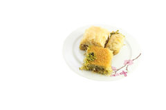 Three baklava on plate Stock Image