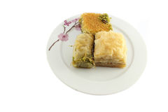 Three baklava on plate Stock Photography