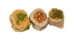 Three baklavas Stock Images