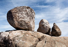 Three balanced boulders Stock Image