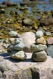 Three balanced Stacks of pebble stones Royalty Free Stock Image