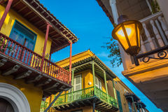 Three Balconies. Street corner in Cartagena, Colombia where three old colonial balconies converge Stock Photography
