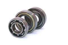 Three ball bearings ordered isolated Stock Images