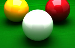 Three Ball Billiard. (Computer Generated Image royalty free illustration