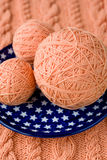 Three ball of pink yarn Stock Photography