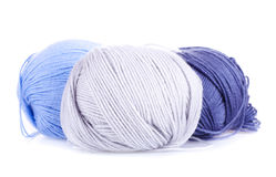 Three ball of woollen yarn Royalty Free Stock Images