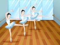 Three ballet dancers inside the studio. Illustration of the three ballet dancers inside the studio Stock Image