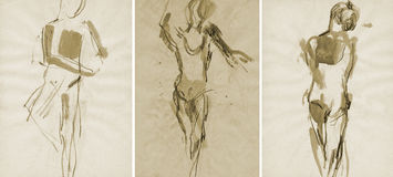 Three ballet girl, drawing Royalty Free Stock Images