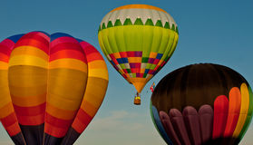 Three Balloons airborne. Image of 3 colorful hot air balloons aloft Royalty Free Stock Images