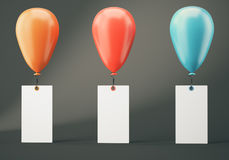 Three balloons with blank banners on dark grey background. Orange, red and blue balloons with blank banners on dark grey background. 3d rendering Stock Photo