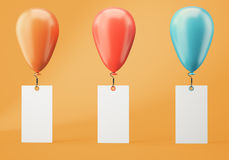 Three balloons with blank banners on orange background. Orange, red and blue balloons with blank banners on orange background. 3d rendering Stock Photos