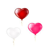 Three balloons in the form of hearts Royalty Free Stock Photos