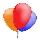 Three balloons, red, blue, orange, to embellish your layout Royalty Free Stock Image