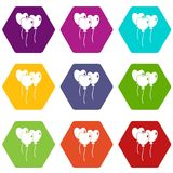 Three balloons in the shape of heart icon set color hexahedron Stock Photography