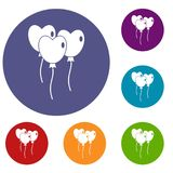 Three balloons in the shape of heart icons set. In flat circle red, blue and green color for web Royalty Free Stock Photos