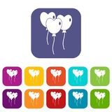 Three balloons in the shape of heart icons set Stock Photography