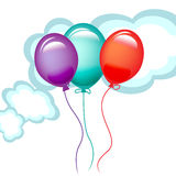 Three balloons in the sky. Three colorful balloons in the sky Stock Photos