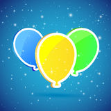 Three balloons on starry background Stock Image