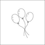 Three balloons on a string. The symbol of the holiday, the festival of the birth. Toy for children. Isolated on white background. Three balloons on a string Royalty Free Stock Images