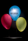 Three balloons which motivates you to get higher than other. Stock Photo