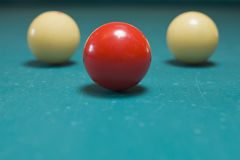 Three balls. Three billiard balls ready to start playing royalty free stock images