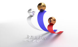 Three balls for awards. On pedestal in Russian Federation Stock Image