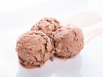 Three balls of chocolate ice cream. On a white plate Stock Images
