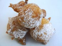 Three balls of homemade fried dough, fritters stock photo