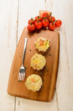 Three balls irish colcannon on wooden board Royalty Free Stock Photos